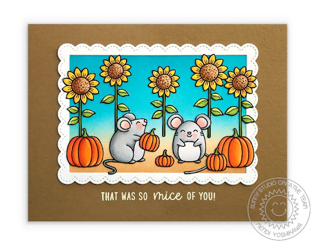 Sunny Studio Stamps Mouse with Sunflowers & Pumpkins Handmade Fall Card (using Harvest Mice, Happy Harvest Stamps & Fancy Frames Rectangle Dies)