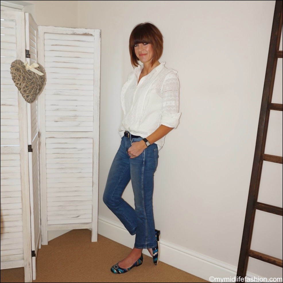 my midlife fashion, Zara broderie anglaise blouse, j crew moleskin belt, j crew cropped kick flare jeans, Susana Cabrera Marta media luna