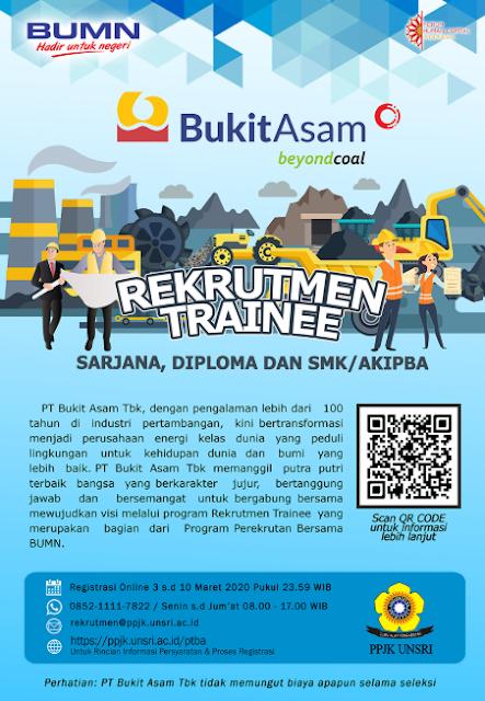 REKRUTMEN TRAINEE PT. BUKIT ASAM Tbk. TAHUN 2020