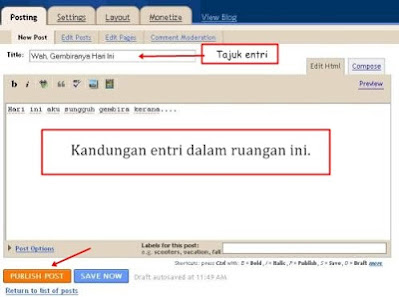 Cara post entry dalam blog