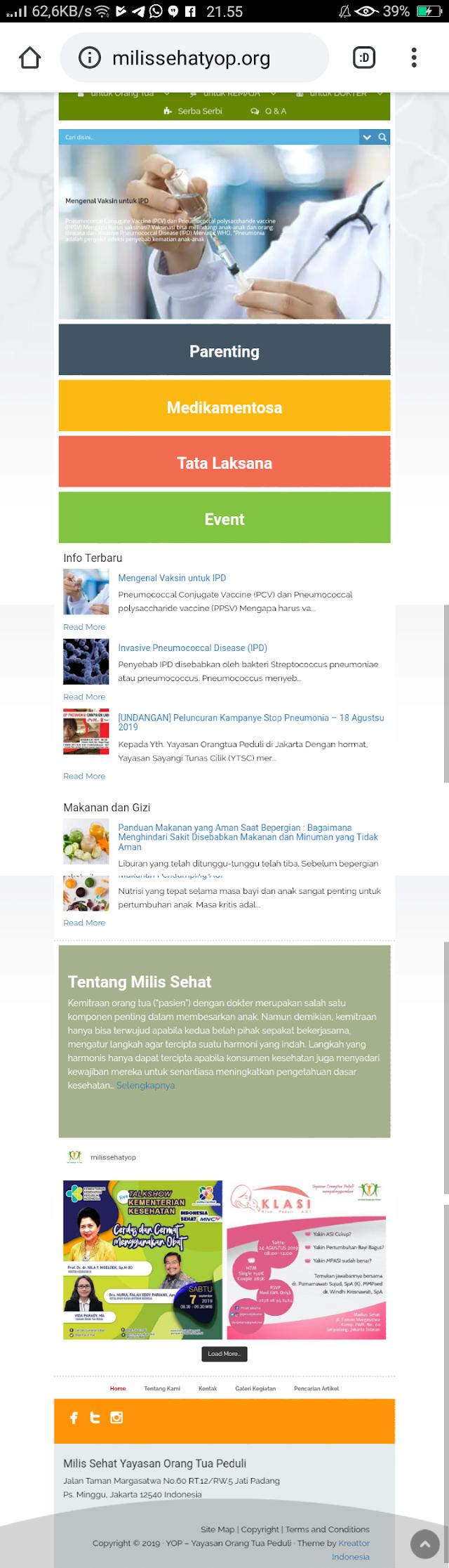 Review Website Milis Sehat