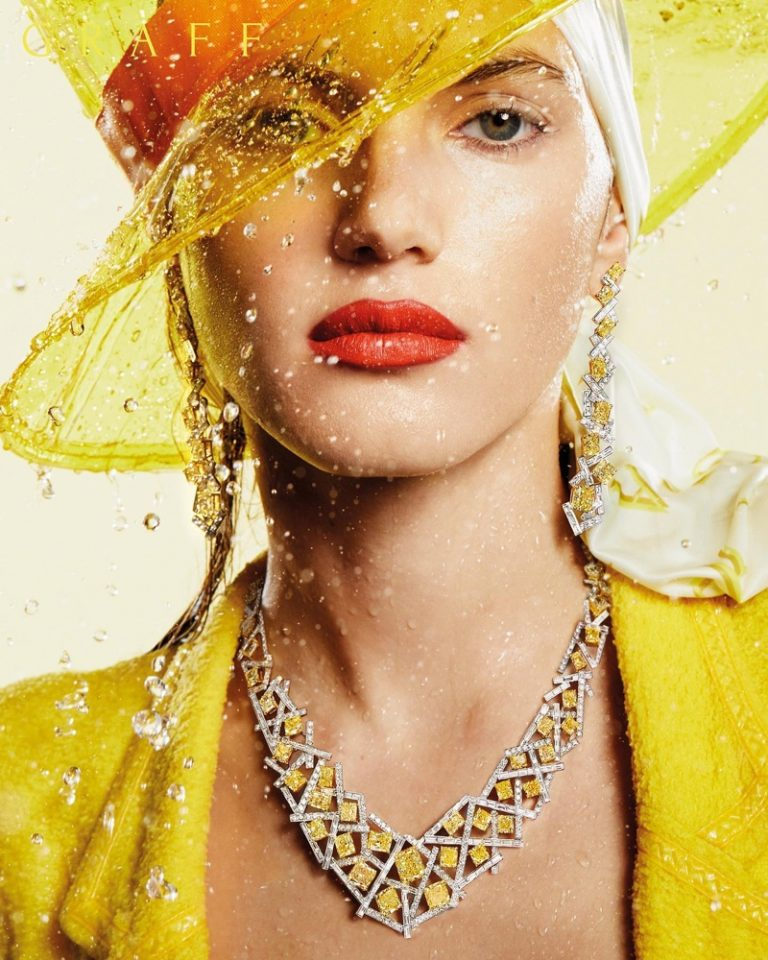 Graff highlights yellow and white diamond Threads necklace and earrings