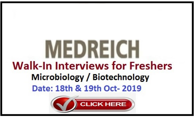MEDREICH LIMITED - Walk-In Interview for Microbiology / Biotechnology Freshers on 18th to 19th Oct' 2019