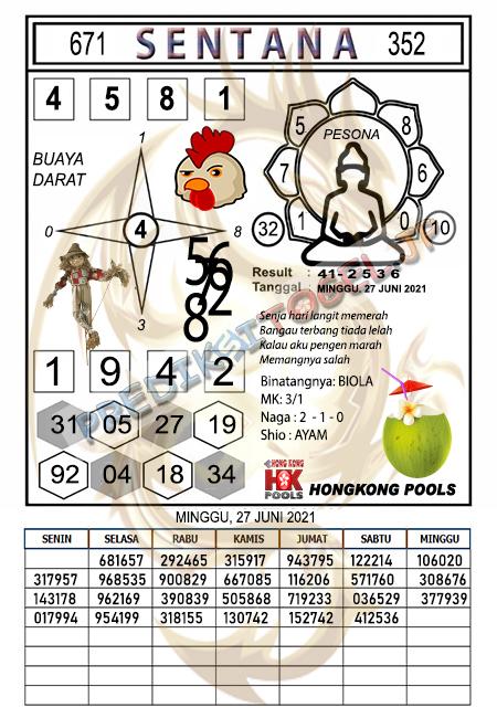 Syair Sentana HK Minggu 27 Juni 2021