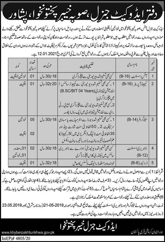 Advocate General Khyber Pakhtunkhwa Jobs 2020