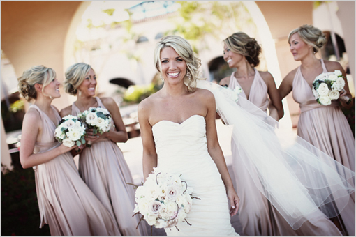 Real Bridesmaids In Beige Bridesmaid Dresses: Bride By Your Side: Twobirds Convertible Bridesmaids Dress