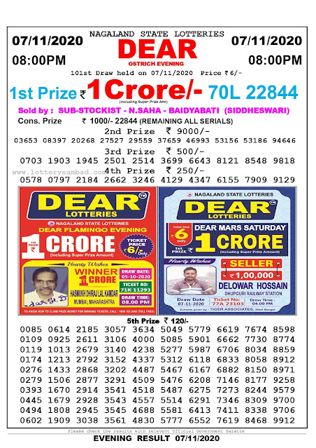 Lottery Sambad 07-11-2020, Lottery Sambad 8 pm results, Nagaland Lottery Results, Lottery Sambad Today Results Live, Night results