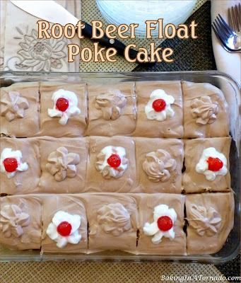 Root Beer Float Poke Cake brings back memories of a favorite treat. Vanilla cake studded with root beer pudding and a vanilla root beer frosting. | Recipe developed by www.BakingInATornado.com | #recipe #cake