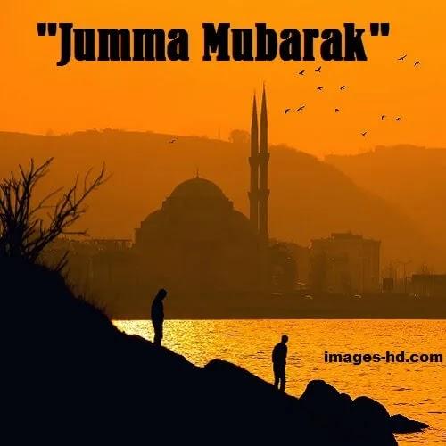 Jumma Evening Mosque near river with sunrise