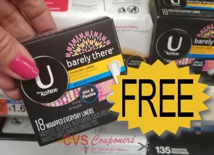 FREE U by Kotex liners CVS Deal 1/19-1/25