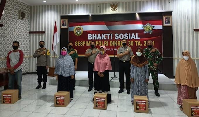 Serdik Sespimti Gelar Baksos di Banten, Ribuan Paket Sembako Dibagikan terhadap Warga Terdampak Covid-19