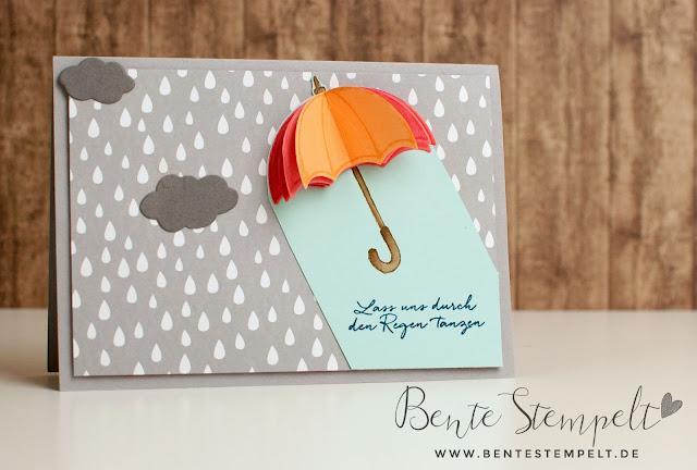 Stampin Up Framelits Regentage Stempelset Donnerwetter Designerpapier im Block Ausgefuchst Regentropfen grau Wolken Lass uns durch den Regen tanzen