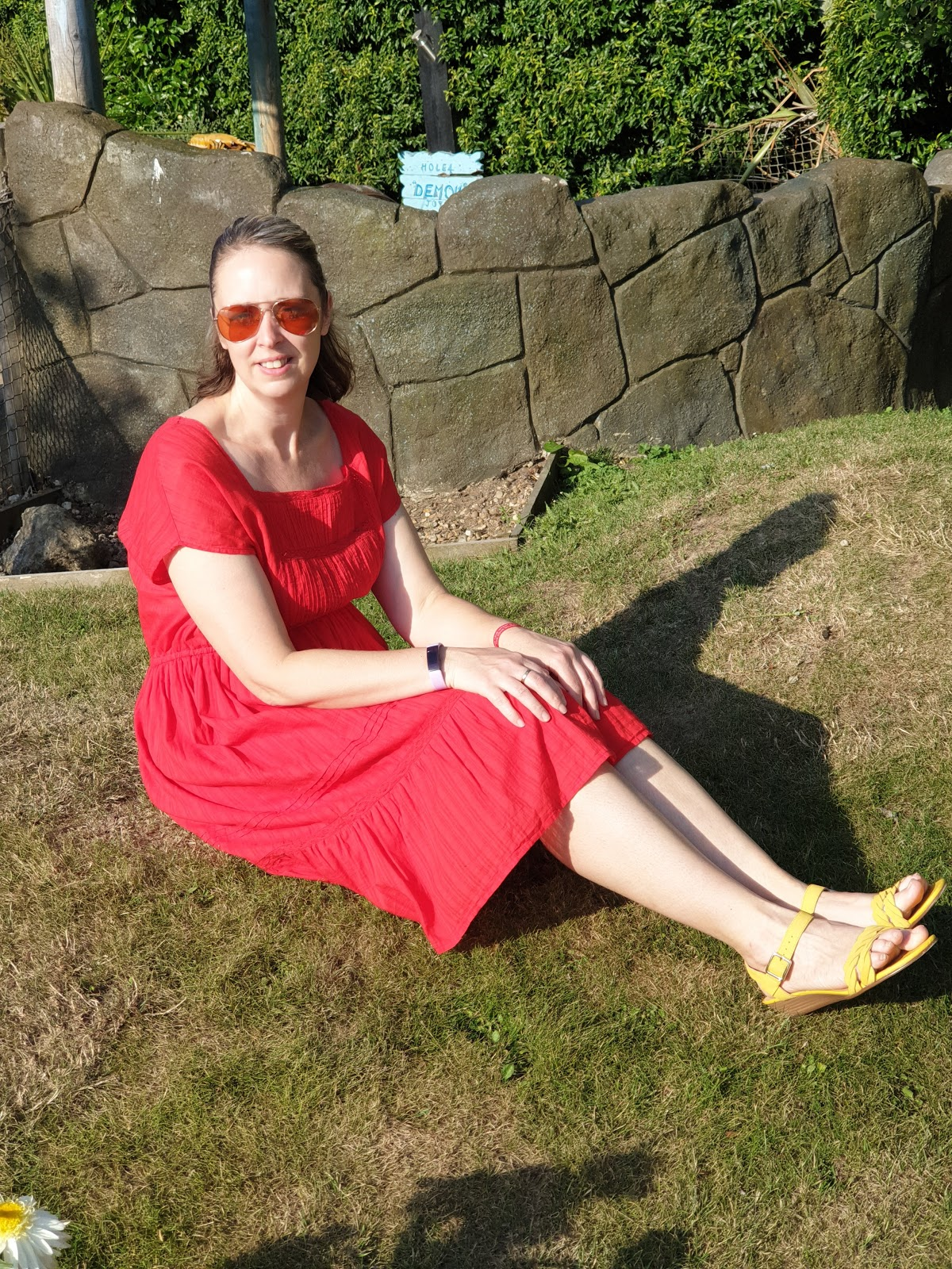 Lady In Red: Red Summer Dress With Yellow Sandals