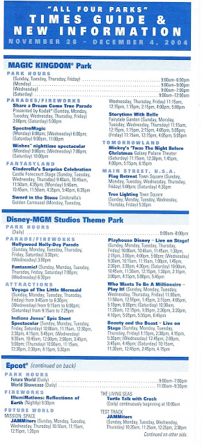 All Four Parks Times Guide Walt Disney World November 28 December 4 2004