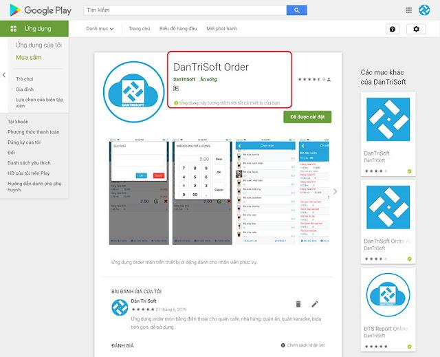 Chúc mừng ứng dụng order bằng điện thoại cho quán cafe, nhà hàng của DanTriSoft đạt mốc 1.000 người dùng trên Android