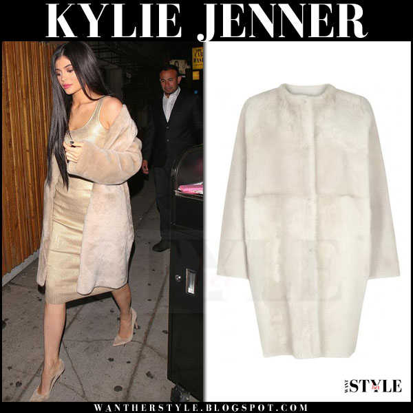 Kylie Jenner in cream shearling karl donoghue coat what she wore night out fashion