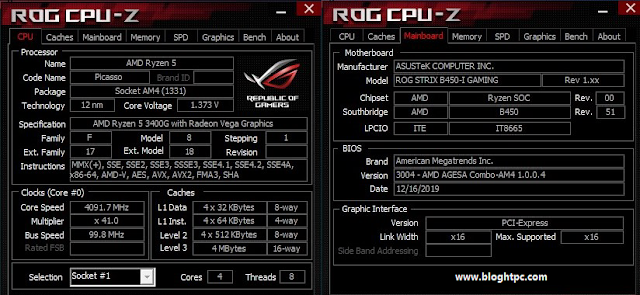 ROG CPU Z AMD RYZEN 5 3400G