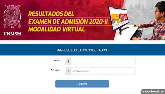 Resultados del examen de admisión San Marcos 2020-II modalidad virtual https://appadmision.unmsm.edu.pe/app/admision_resultados/ingreso.php