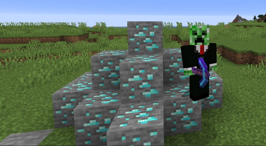 """With the right enchantment, you can also take the diamond ores with you and reposition them later in order to mine them """"properly""""."""