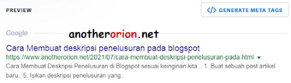 tampilan deskripsi penelusuran pada halaman mesin pencari
