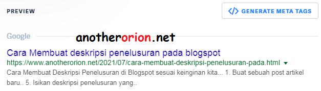 Cara Membuat deskripsi penelusuran pada blogspot