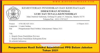 Pengumuman Hasil Seleksi Administrasi PPG Dalam Jabatan Tahun 2021