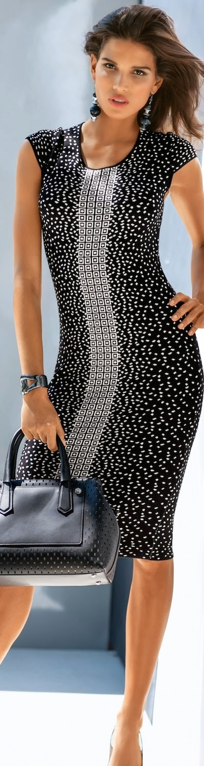 MADELEINE Black and White Knit Dress