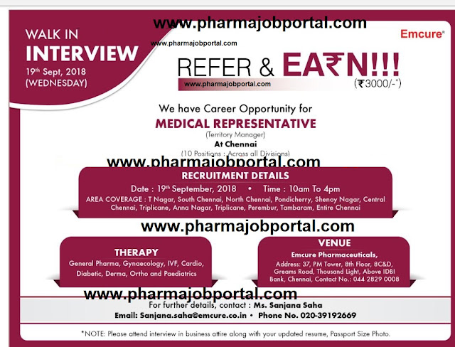 Emcure Pharmaceuticals Ltd Walk In Interview at 19 Sep