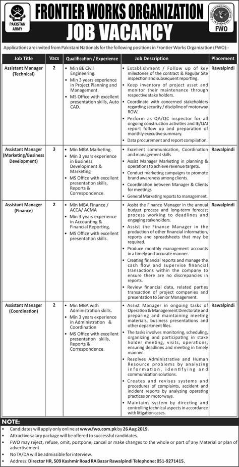 Advertisement for FWO Jobs August 2019