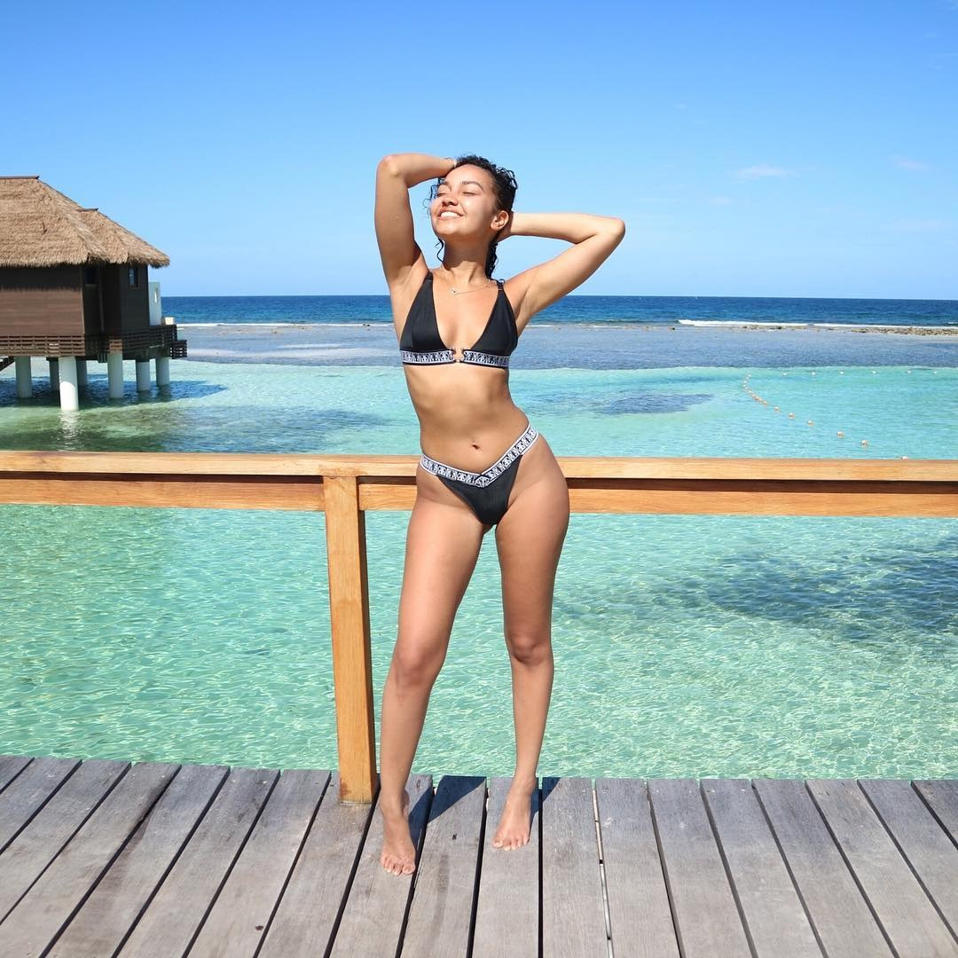 Little Mix beauty Leigh-Anne Pinnock showcases her toned figure in sporty bikini in Jamaica