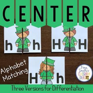 Alphabet Matching Literacy Center Easy Prep Uppercase & Lowercase Leprechauns
