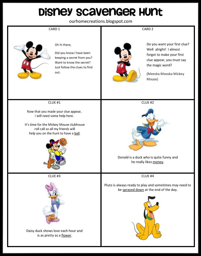 Ourhomecreations Disney Surprise Scavenger Hunt - Disney surprise letter template