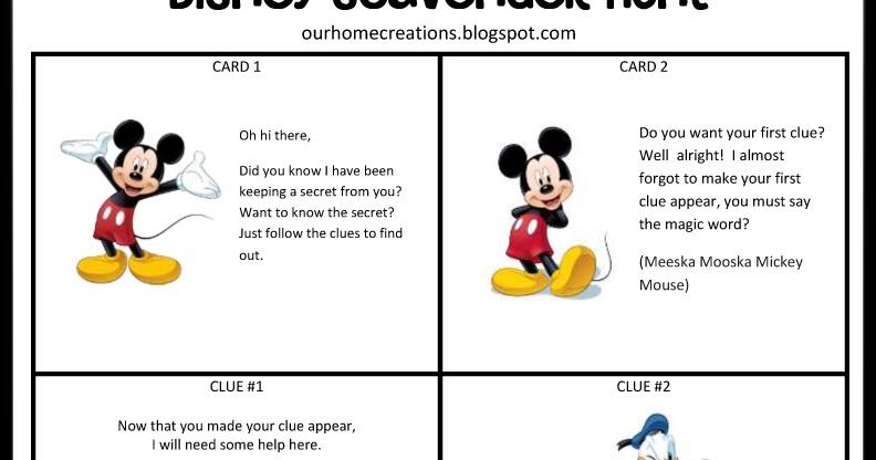 Ourhomecreations Disney Surprise Scavenger Hunt