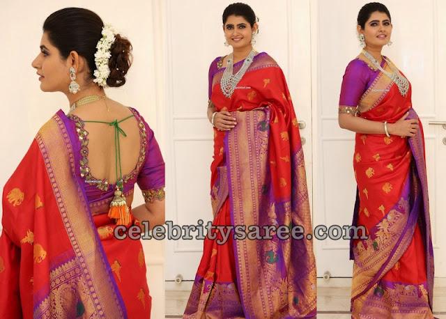 Ashima Narwal Red Purple Silk Saree