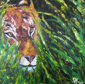 """Tiger in the Grass"" SOLD! Prints available at Sandra-Cutrer.artistwebistes.com"