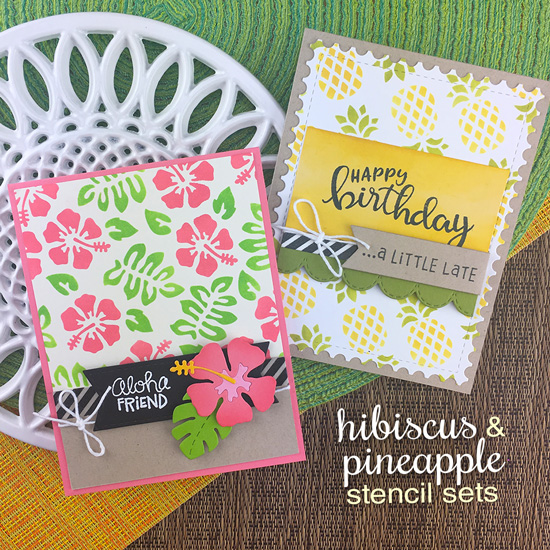Summer Stenciled by Jennifer Jackson | Hibiscus Stencil Set, Pineapple Stencil Set, Birthday Essentials Stamp Set, Hibiscus Die Set, Framework Die Set and Framework Die Setby Newton's Nook Designs #newtonsnook #handmade