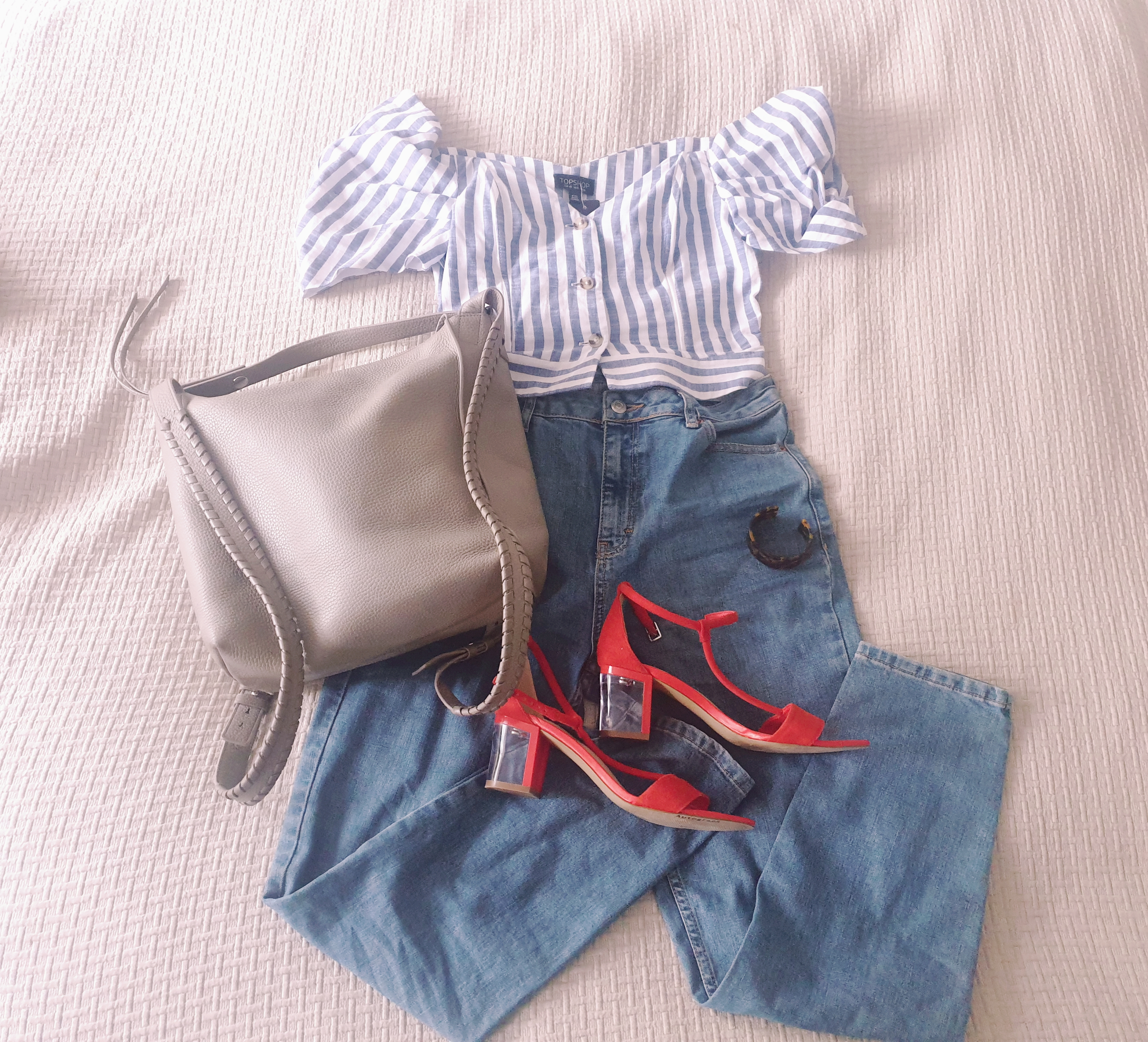 Topshop bardot top, Topshop Orson jeans, red perspex heel sandals, AllSaints Kita bag