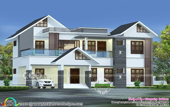 2680 square feet 4 bedroom mixed roof home plan