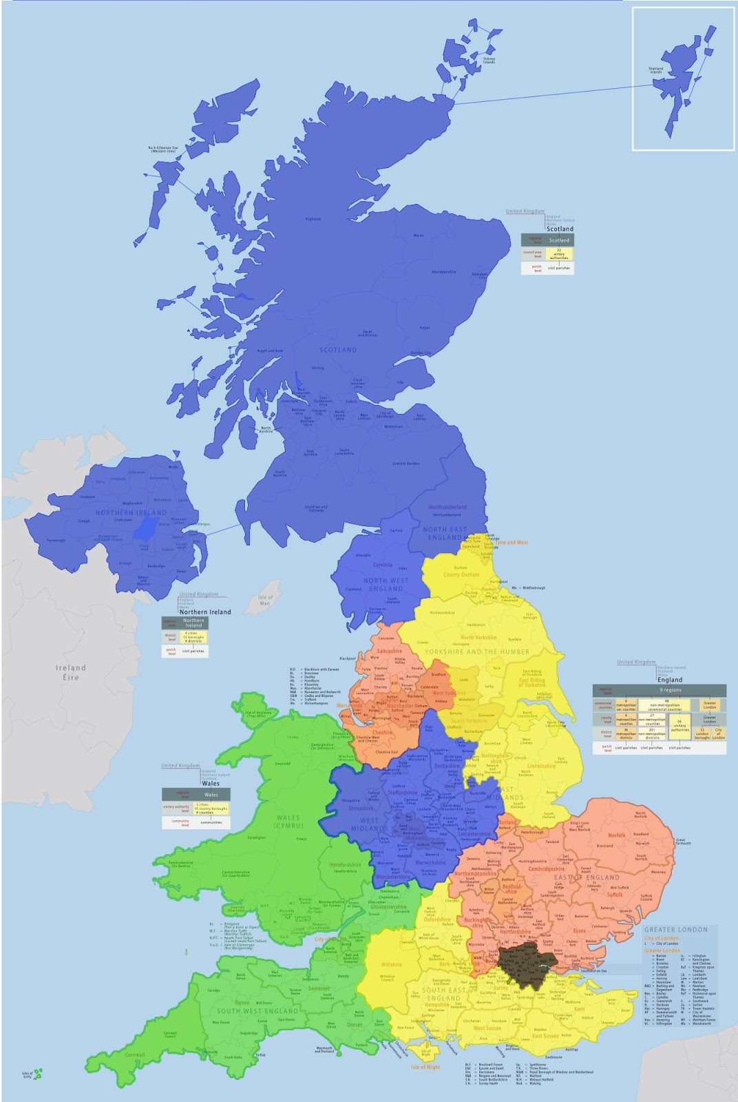 The UK split up into areas where population is equal to that of London