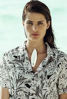 Model Isabeli Fontana wears printed Agua de Coco shirt