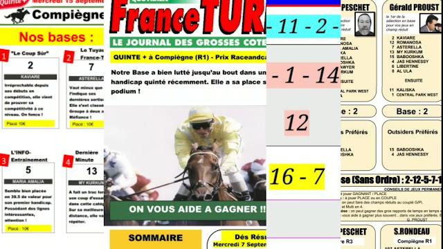 Pronostics quinté+ pmu Mercredi Paris-Turf-100 % 15/09/2021