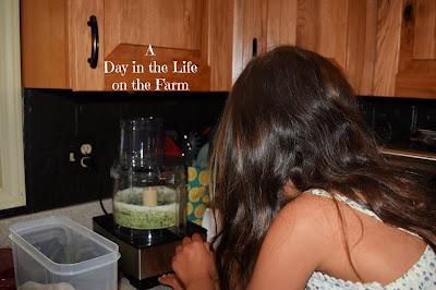 girl in kitchen making mint sugar