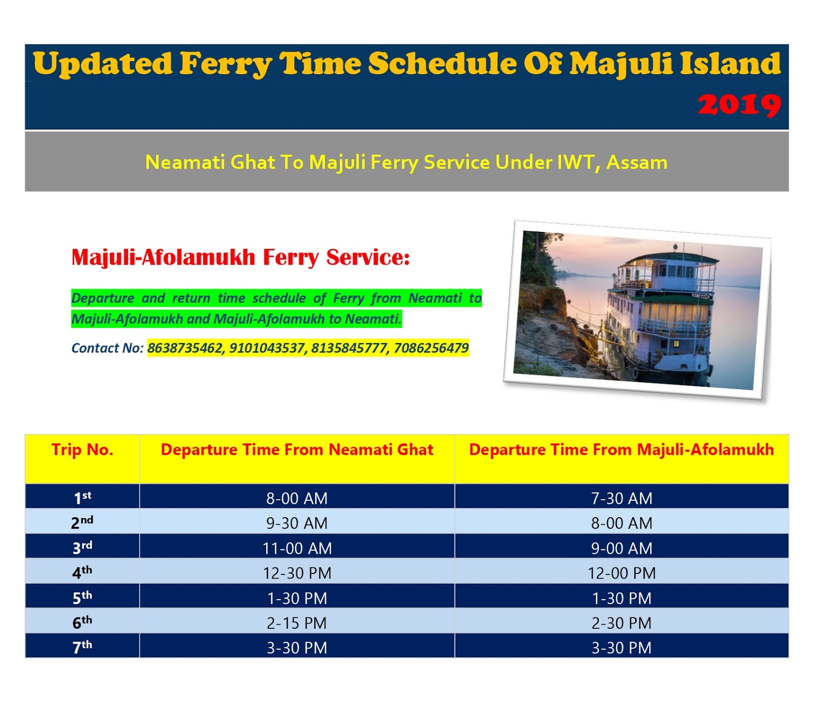 Ferry Time Schedule