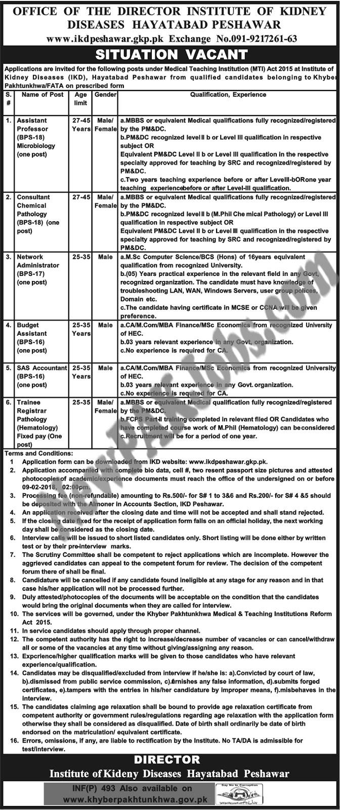 New Jobs in Institute of Kidney Diseases Hayatabad Peshawar 2018