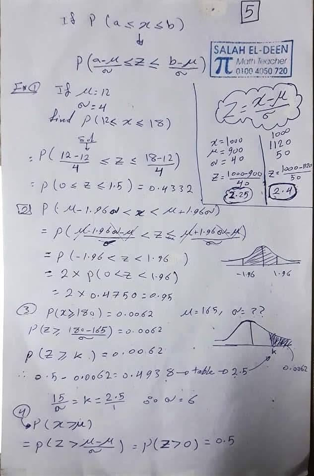 مراجعة الاحصاء باللغة الانجليزية للصف الثالث الثانوي أ/ صلاح صالحي 10
