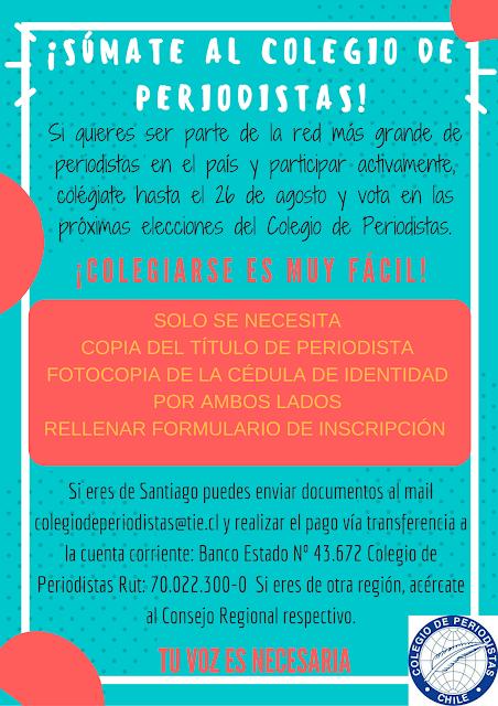 ¡Súmate al Colegio de Periodistas! Colégiate hasta el 26 de agosto y participa en las elecciones