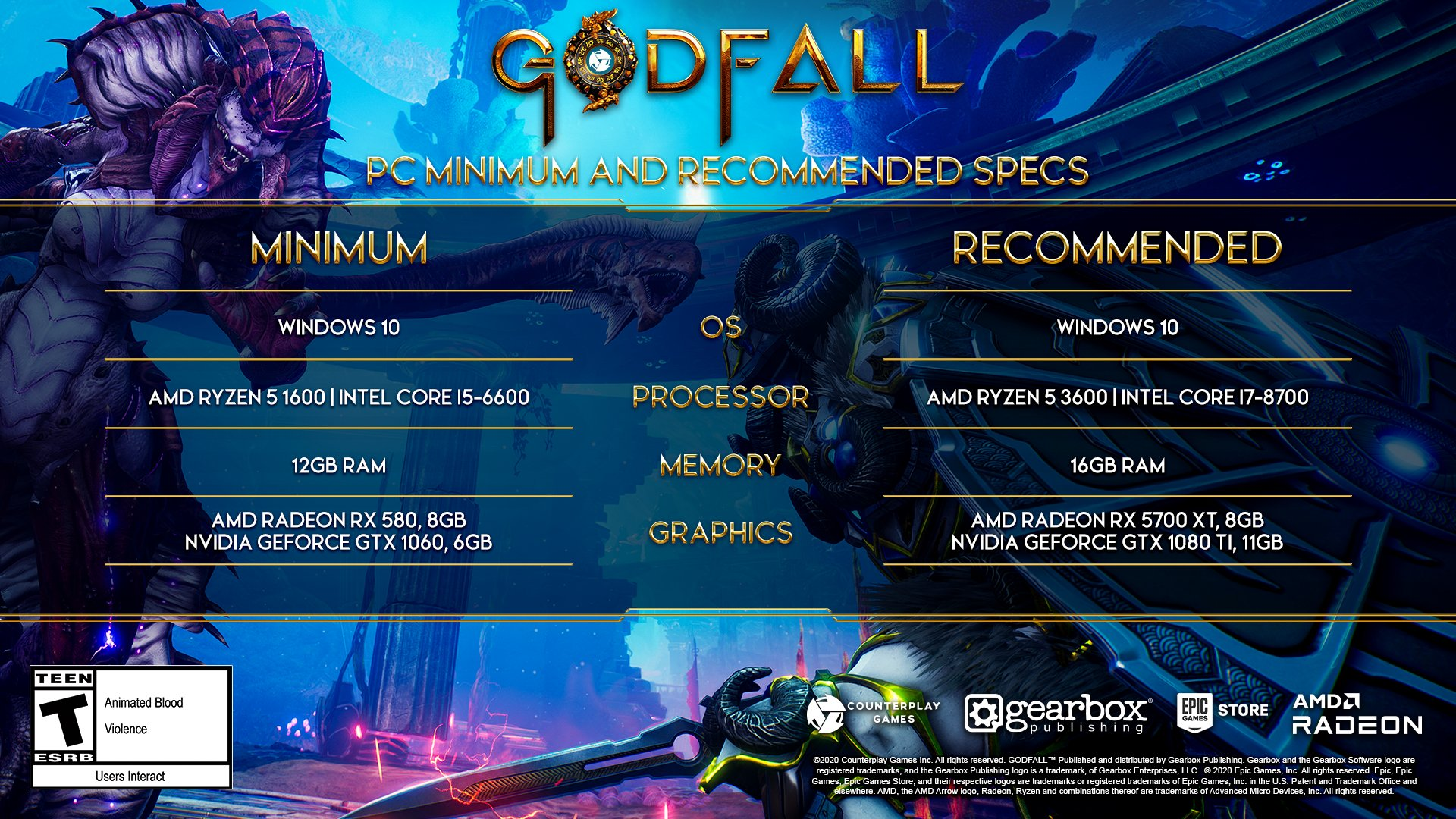 Godfall - System Requirements for Next Generation