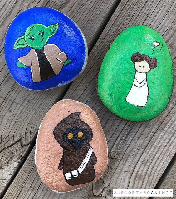 cute yoda, princess leia and jawa painted rocks
