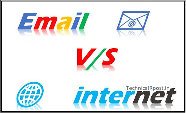Internet and email difference in Hindi   ईमेल और इंटरनेट में क्या अंतर है