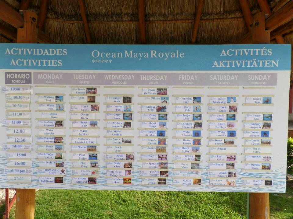 Photo of the daily events at the Ocean Maya Royale